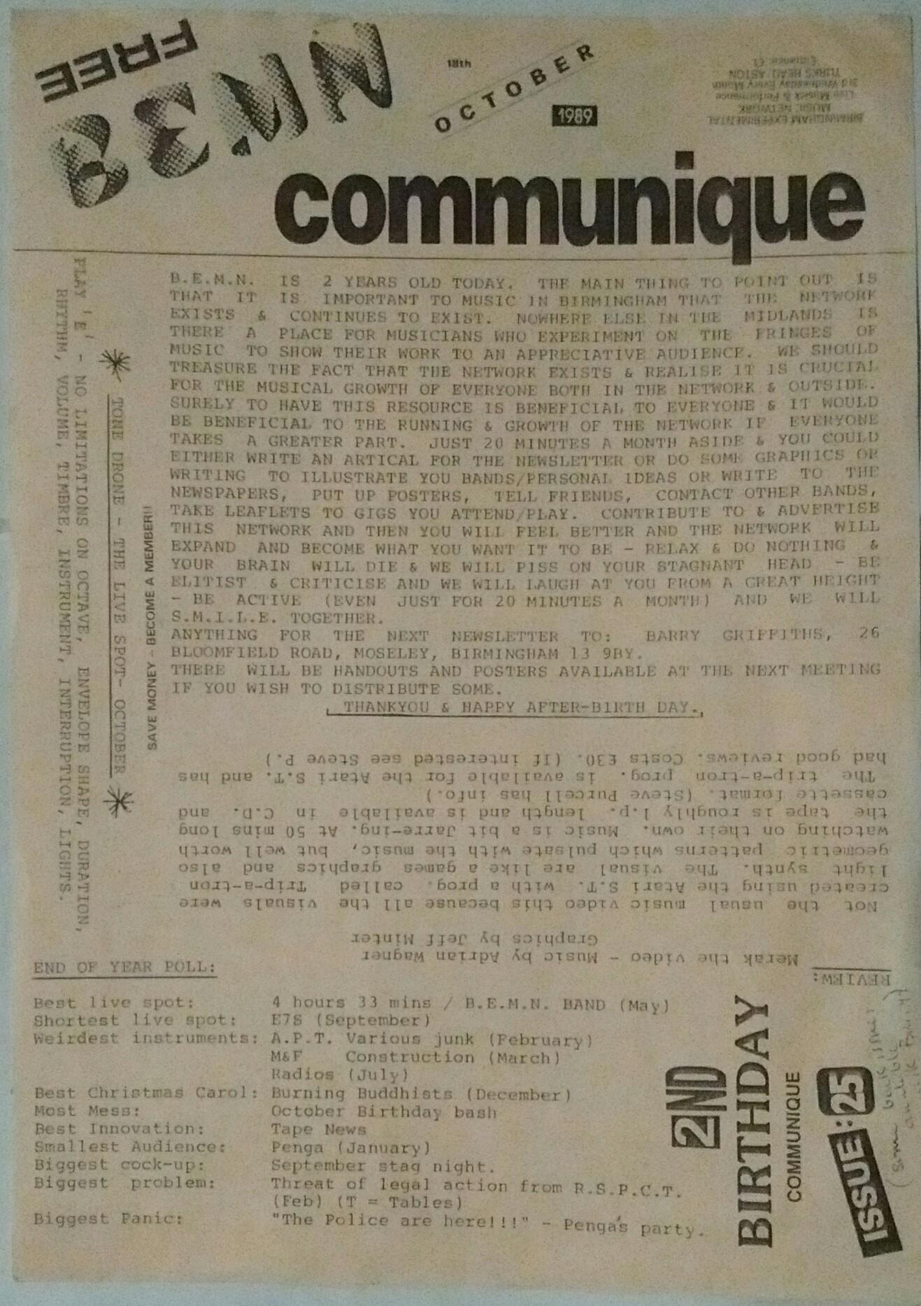 BEMN_October 89 Communique