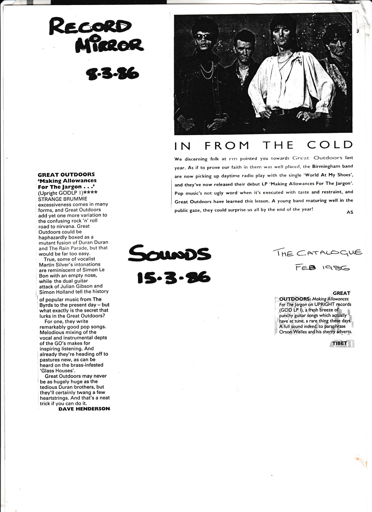 Review of the GO album - Record Miror, Sounds etc. March 1986